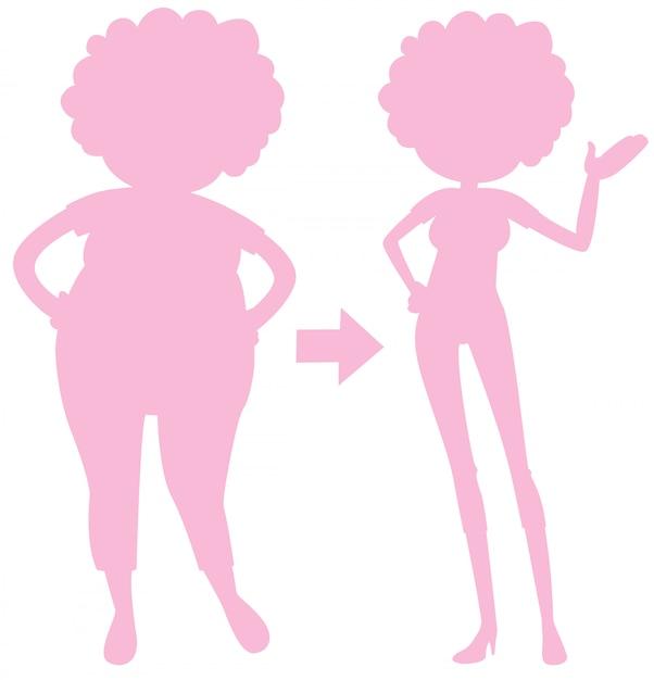 身体の変化のピンクのシルエット 無料ベクター