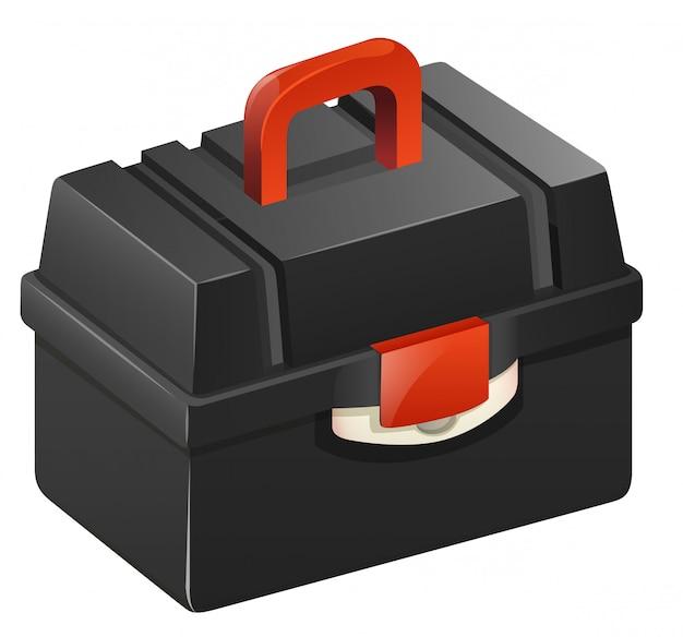 赤色のハンドルを持つ黒のツールボックス 無料ベクター