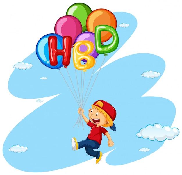 Маленький мальчик, летающий с воздушными шарами Premium векторы