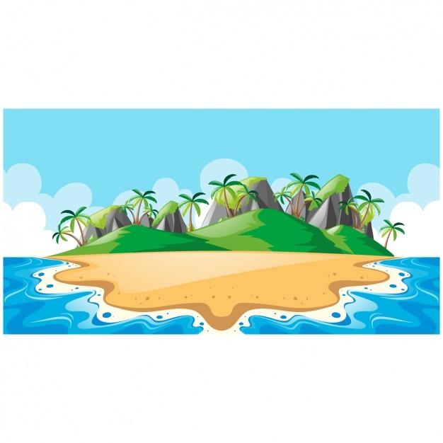 島の背景デザイン 無料ベクター