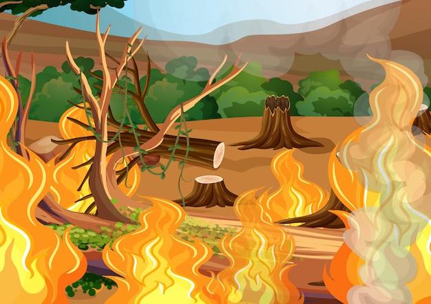 Лес горит картинка рисунок