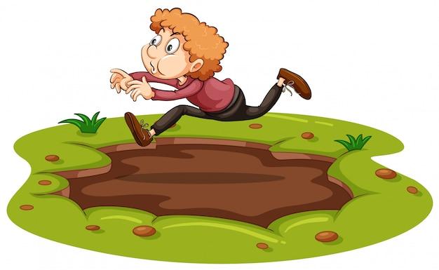 泥の上を飛ぶ男 無料ベクター