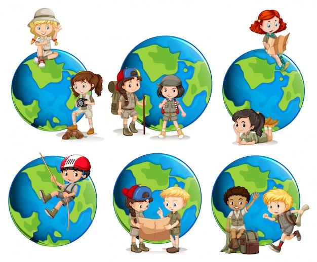 子供と地球儀のセット Premiumベクター
