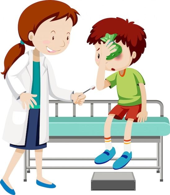傷ついた少年を助ける医師 Premiumベクター
