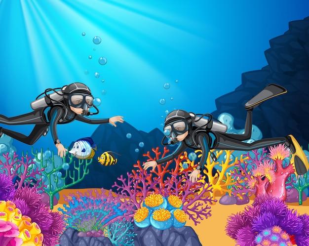 深海でのスキューバダイビング Premiumベクター
