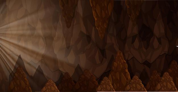 洞窟の中の太陽の光景 Premiumベクター
