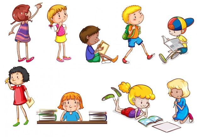 学校活動を行っている子供のセット 無料ベクター