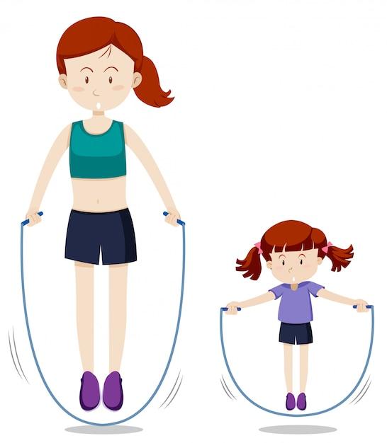 母と娘のジャンプロープ 無料ベクター