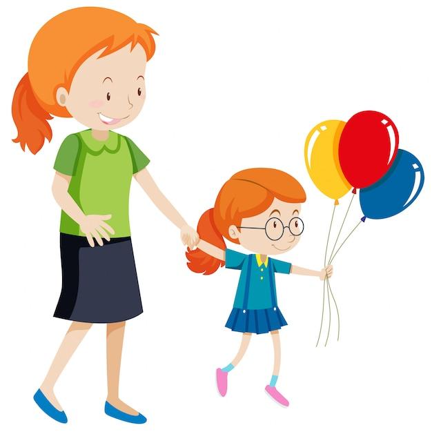 母と娘が風船を持っている 無料ベクター