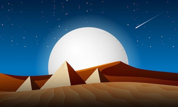 砂漠の夜景風景 Premiumベクター
