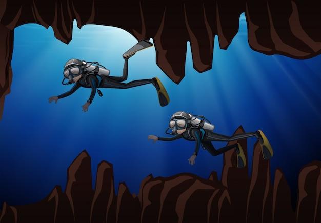 スキューバダイビング水中洞窟 Premiumベクター