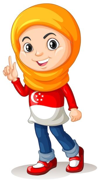 シンガポールの女の子、頭のスカーフ 無料ベクター