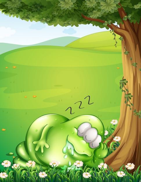 木の下で眠っている怪獣の丘 Premiumベクター