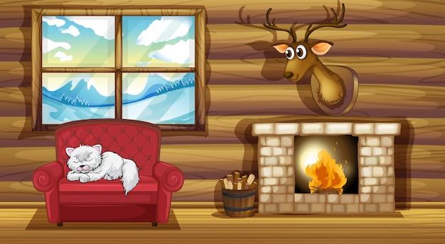 暖炉のそばで椅子の上に眠っている猫 Premiumベクター
