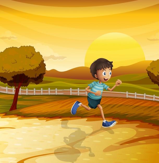 若い男の子が走っている午後の眺め Premiumベクター