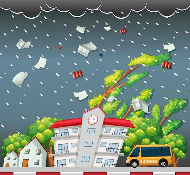 大きな嵐の通りの風景 無料ベクター