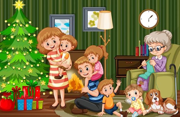 Большая семья празднует рождество Premium векторы