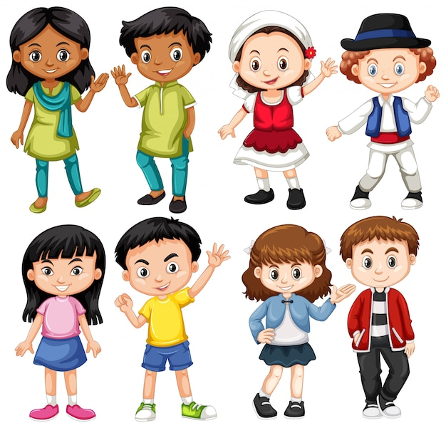 国際子どもグループ 無料ベクター