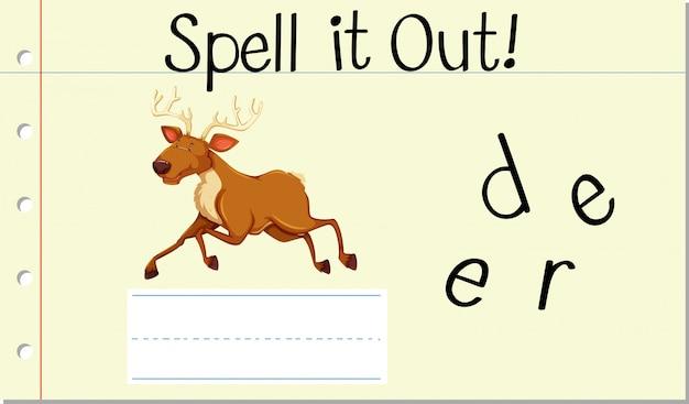 スペル英語の単語の鹿 無料ベクター