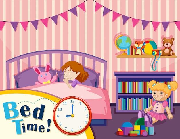 若い女の子のベッドの時間 無料ベクター