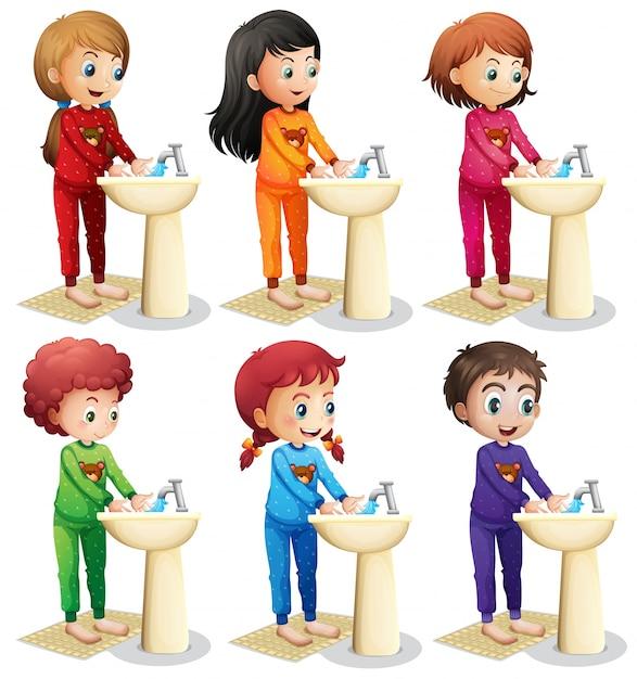 寝る前に手を洗う子供たち 無料ベクター