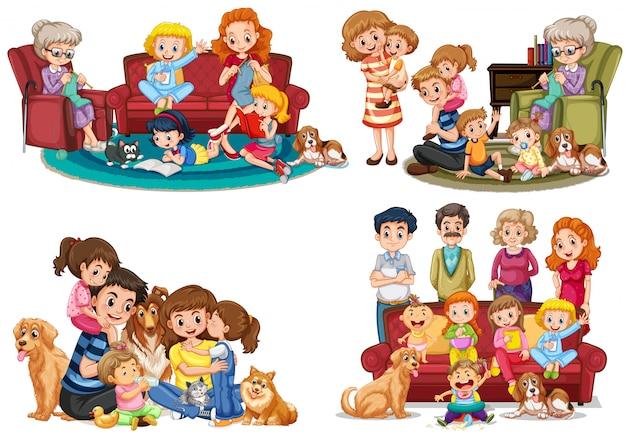 Набор членов семьи Premium векторы