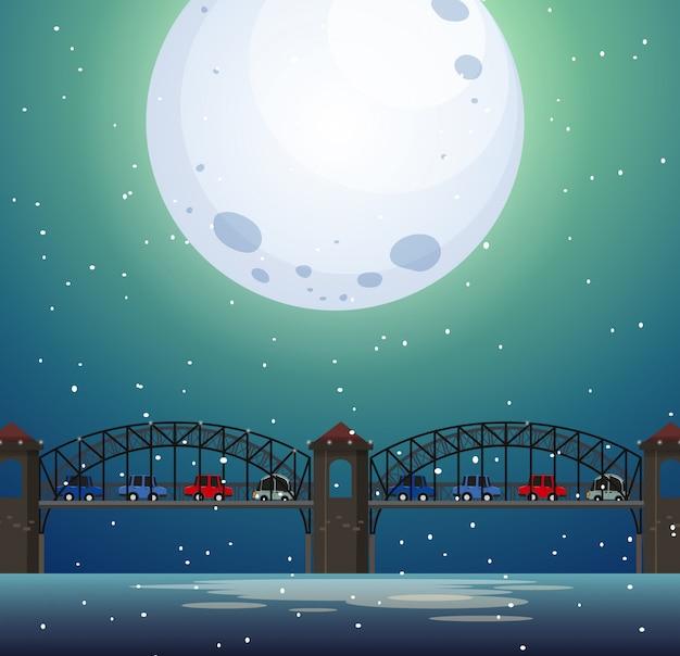 夜の橋の風景 Premiumベクター