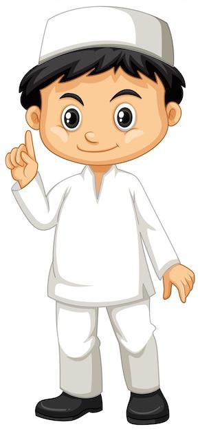Индонезийский мальчик в белом костюме Бесплатные векторы