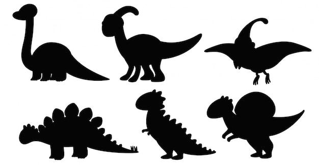 シルエット恐竜のセット 無料ベクター