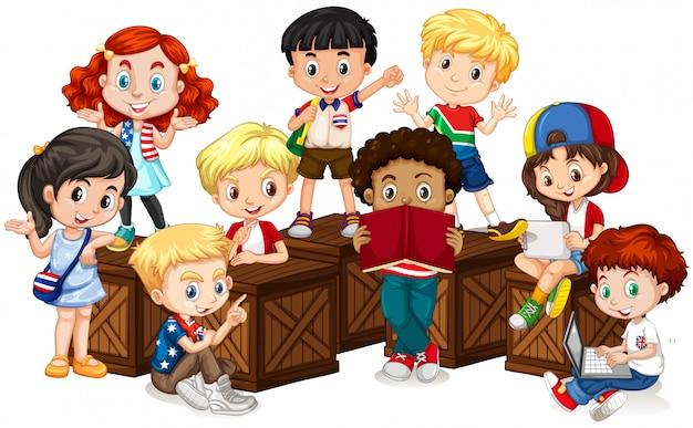 国際的な子供のグループ Premiumベクター