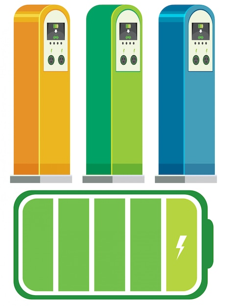 電気自動車の充電ステーションのコンセプト Premiumベクター