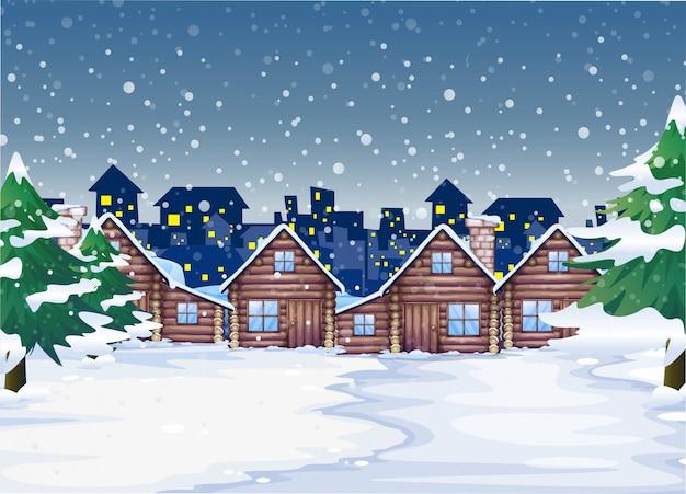 冬の夜の背景 Premiumベクター