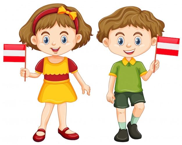 Мальчик и девочка держит флаг австрии Бесплатные векторы
