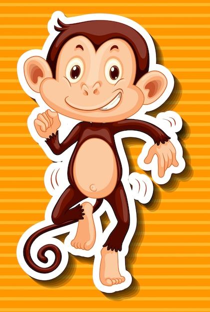 黄色の背景に猿の踊り 無料ベクター