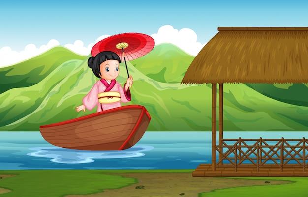 Традиционная японская девушка в природе Premium векторы