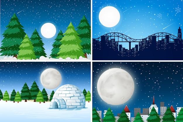 屋外の冬の風景のセット Premiumベクター