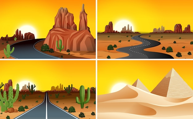 Набор пустынных ландшафтов Бесплатные векторы