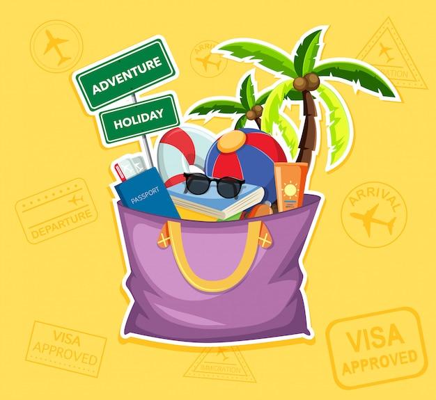 Летний пляжный элемент в сумке Premium векторы