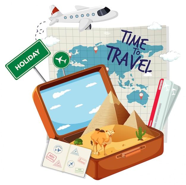 トラベルエレメント付きビンテージスーツケース Premiumベクター