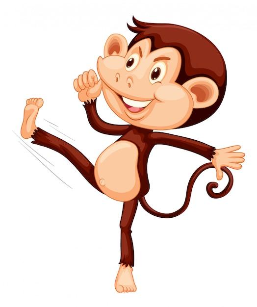 白いバックグラウンドの幸せな猿 無料ベクター