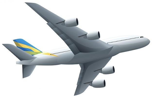 白い背景を飛んでいる飛行機 無料ベクター