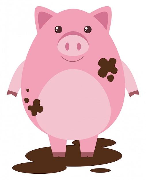 ピンクの豚、泥の水たまり 無料ベクター