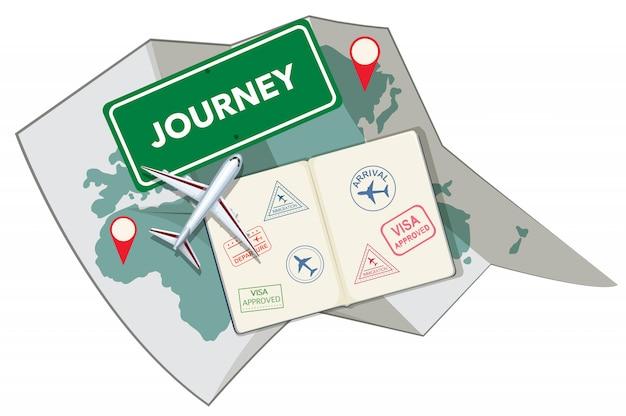 パスポートスタンプと地図 無料ベクター