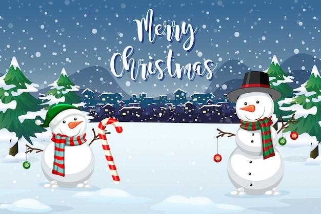 クリスマスの屋外の背景 無料ベクター