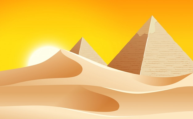Жаркий пустынный ландшафт Бесплатные векторы