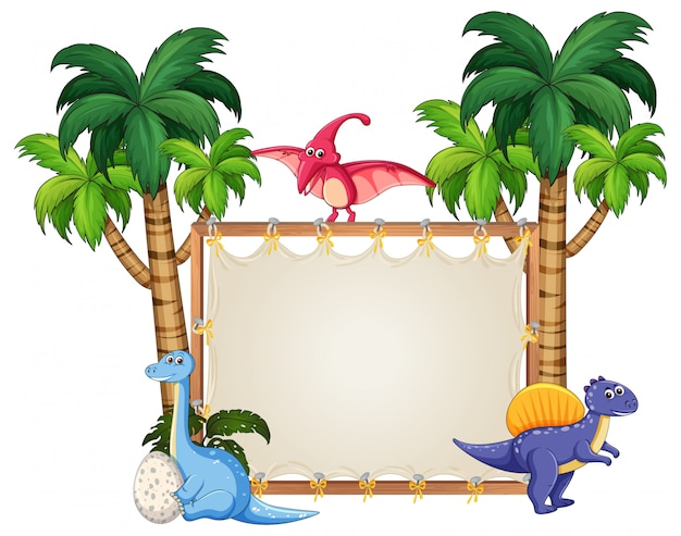 Динозавр на пустой баннер Premium векторы