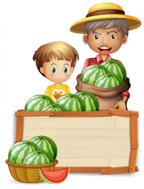農家持株スイカ Premiumベクター