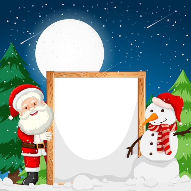 サンタと雪だるまを持つフレーム Premiumベクター