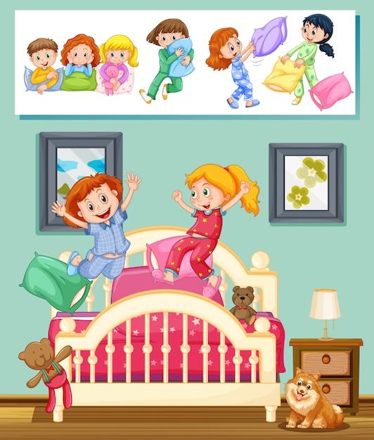 寝室のイラストで眠っているパーティーで子供たち 無料ベクター