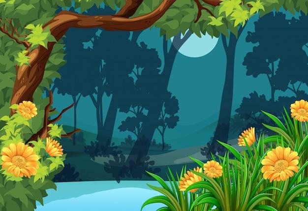 花と月の森のシーン Premiumベクター